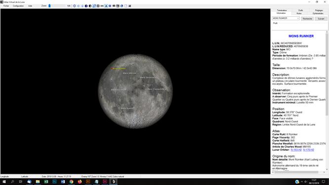 atlas virtuel de la lune pour repérer et identifier les cratères et les distances