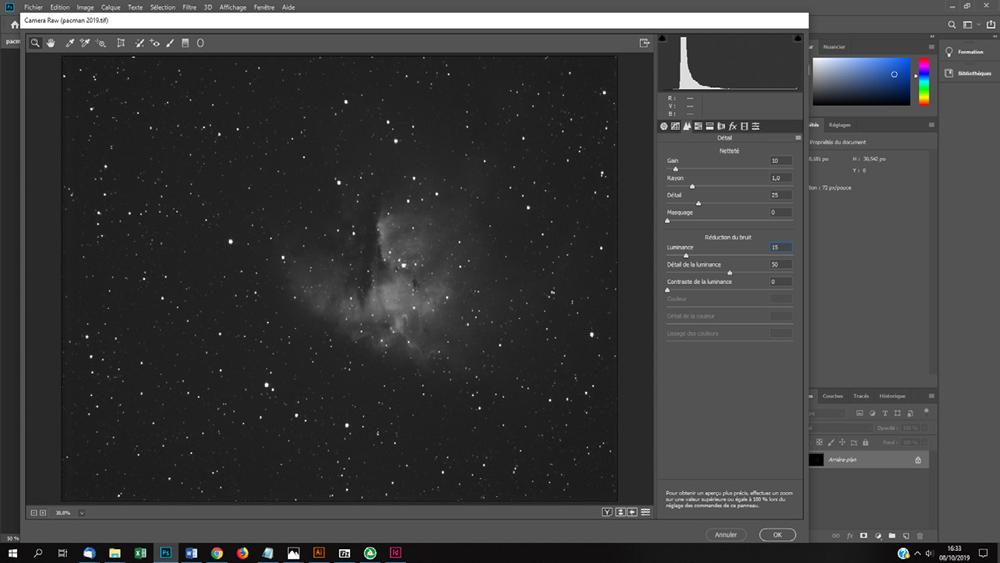 traiter une photo astro avec le logiciel Camera Raw de Photoshop