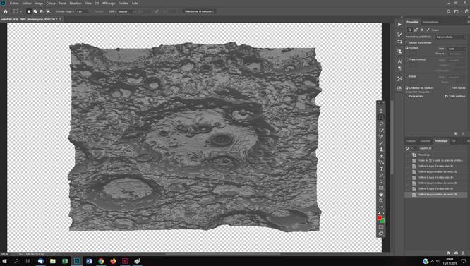 le relief d'un cratère lunaire en 3D tutoriels photoshop pour l'astrophotographie