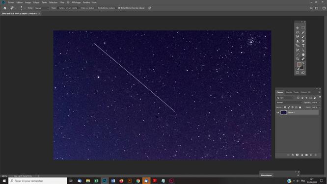 Techniques photoshop astrophoto effacer ligne ou trace d'un passage de satellite sur une photo astro