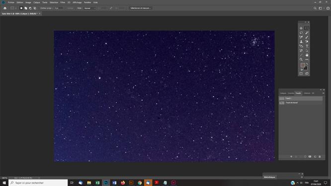 Traitement photoshop photo astro Effacer une ligne de satellite sur une photo (méthode 2)