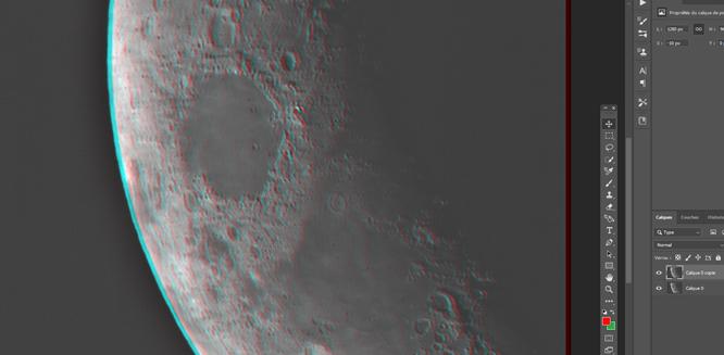 Traitement photoshop photo astro Effet anaglyphe sur une surface lunaire