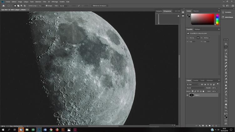 Lune minérale en couleurs saturation photoshop astronomie astrophoto