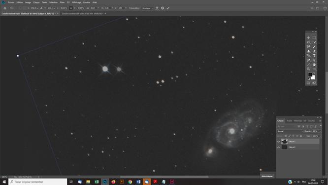Tutoriel photoshop astrophotographie Superposer manuellement une couche couleurs sur une couche noir et blanc