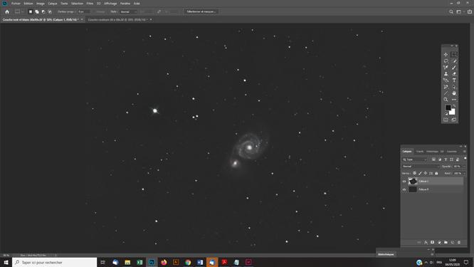 Traitement photoshop photo astro Superposer manuellement une couche couleurs sur une couche noir et blanc