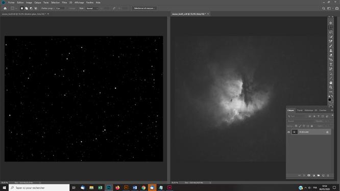 tuto photoshop astrophoto Traitement de la nébuleuse avec un masque d'étoi